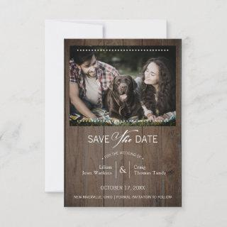 Rustic Wood Dog Photo Whimsical Typography Save The Date