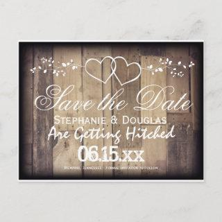 Rustic Wood Double Hearts Save the Date Postcards