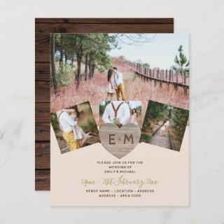 Rustic Wood Engraved Heart PHOTO COLLAGE BUDGET