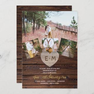Rustic Wood Engraved Heart PHOTO COLLAGE ENGAGED Invitation