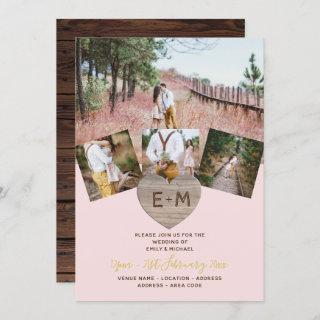 Rustic Wood Engraved Heart PHOTO COLLAGE  Invitation