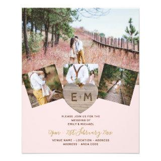 Rustic Wood Engraved Heart PHOTO COLLAGE  Invite Flyer