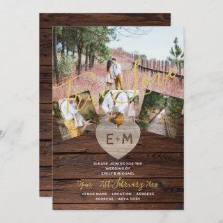 Rustic Wood Engraved Heart PHOTO COLLAGE WEDDING Invitations