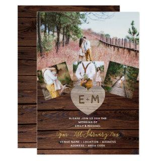 Rustic Wood Engraved Heart PHOTO COLLAGE WEDDINGs Invitations