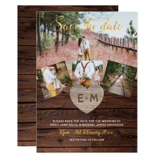 Rustic Wood Engraved Heart PHOTO SAVE THE DATE Invitations