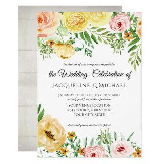 Rustic Wood Fall Color Blush Yellow Peach Floral Invitations
