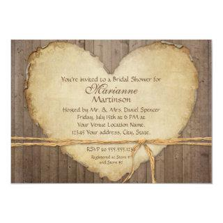 Rustic Wood Fence Boards Heart Bridal Shower Invitations