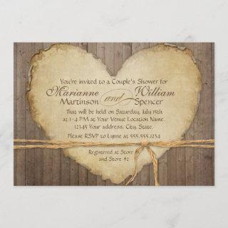 Rustic Wood Fence Boards Heart Couples Shower Invitations
