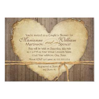 Rustic Wood Fence Boards Heart Couples Shower Invitation