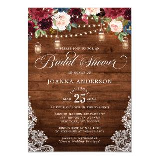 Rustic Wood Floral Mason Jar Bridal Shower Invitation