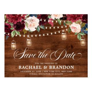 Rustic Wood Floral Mason Jar Save the Date Postcard