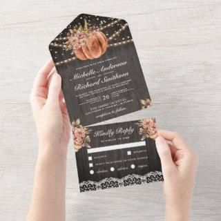 Rustic Wood Floral Pumpkin Autumn Fall Wedding All In One