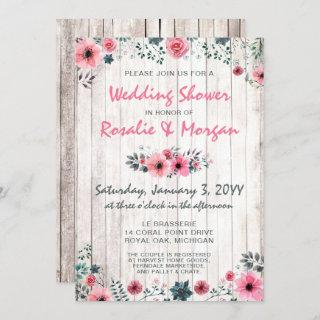 Rustic Wood Floral Rose Country Wedding Shower Invitations