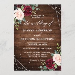 Rustic Wood Geometric Burgundy Floral Wedding Invitation
