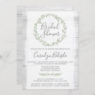 Rustic Wood Green Wreath Bridal Shower Invitations