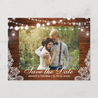 Rustic Wood Jar Lights Save the Date Back Text Announcement Postcard