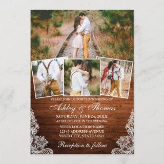 Rustic Wood Lace 4 Photo Wedding Invitation