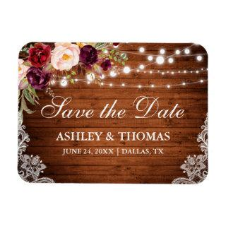 Rustic Wood Lace Burgundy Floral Save the Date Magnet