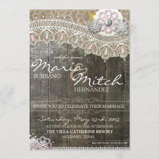 Rustic Wood & Lace Floral Wedding Invitations