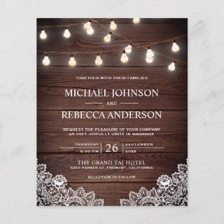 Rustic Wood Lace Lights Budget Wedding Invitation