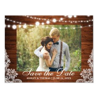 Rustic Wood Lace Lights Save the Date Engagement Magnetic Invitation