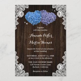 Rustic Wood Lace Purple and Blue Floral Wedding Invitation