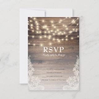 Rustic Wood & Lace RSVP with Song Option