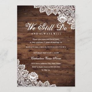 Rustic Wood Lace Vow Renewal Anniversary Invitations