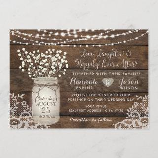 Rustic Wood Lace Wedding Invitations, Mason Jar Invitations