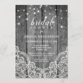Rustic Wood Light Lace Bridal Shower Invitation