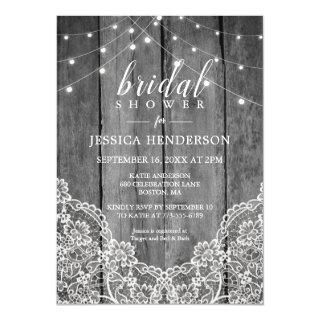 Rustic Wood Light Lace Bridal Shower Invitations