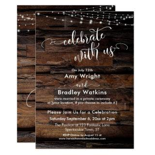 Rustic Wood Light Strings Celebrate with Us Invitations