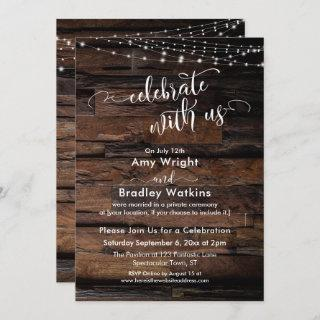 Rustic Wood Light Strings Celebrate with Us Invitation
