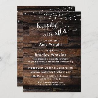 Rustic Wood Light Strings Happily Ever After Invitations