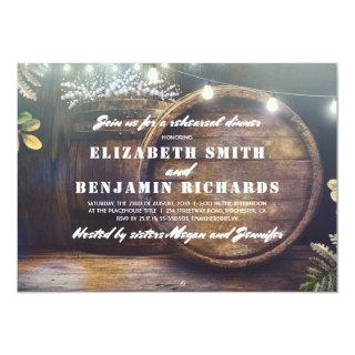 Rustic Wood Lights Baby's Breath Rehearsal Dinner Invitations