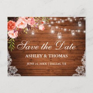 Rustic Wood Lights Jars Coral Floral Save the Date Announcement Postcard