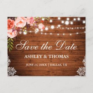 Rustic Wood Lights Lace Coral Floral Save the Date Announcement Postcard