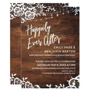 Rustic Wood Lights & Lace Happily Ever After Event Invitation