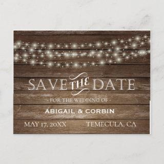 Rustic Wood Lights Save the Date Announcement Postcard