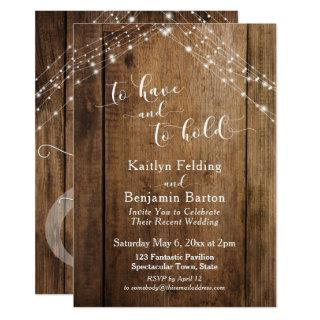 Rustic Wood & Lights To Have and To Hold Invitations