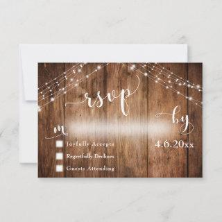 Rustic Wood & Lights with Wedding Calligraphy RSVP