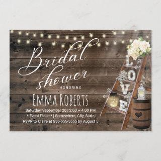 Rustic Wood Love Ladder Wine Barrel Bridal Shower Invitations