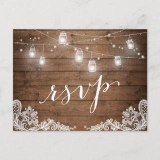 Rustic Wood Mason Jar Lights Lace Wedding RSVP Invitations Postcard