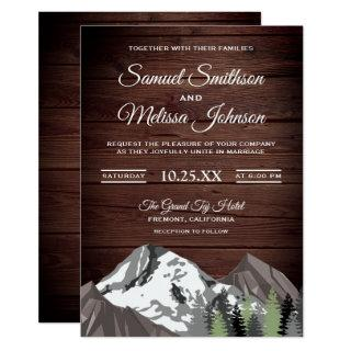 Rustic Wood Mountain Forest Wedding Invitations