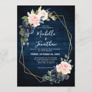 Rustic Wood Navy Blue Blush Pink Geometric Wedding Invitations
