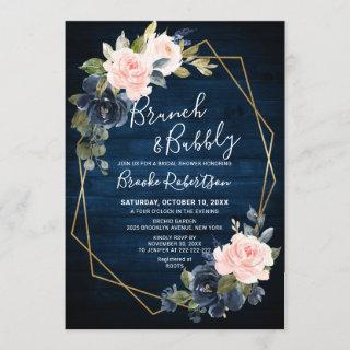 Rustic Wood Navy Blush Geometric Brunch And Bubbly Invitations