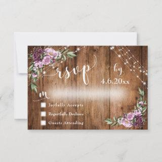 Rustic Wood, Pink Flowers & Lights w/ Typography RSVP Card