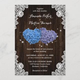 Rustic Wood Purple and Blue Floral Hearts Wedding Invitations