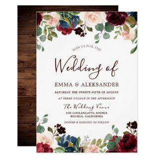 Rustic Wood Red Burgundy Floral Wedding Invite