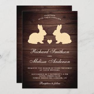 Rustic Wood Romantic Rabbits Wedding Invitations